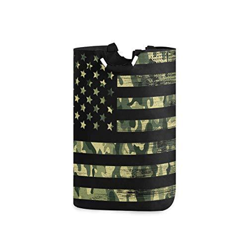 senya Large Laundry Basket, USA Flag Camouflage Vintage Laundry Hamper Foldable Clothes Bag with Handle Foldable Washing Bin