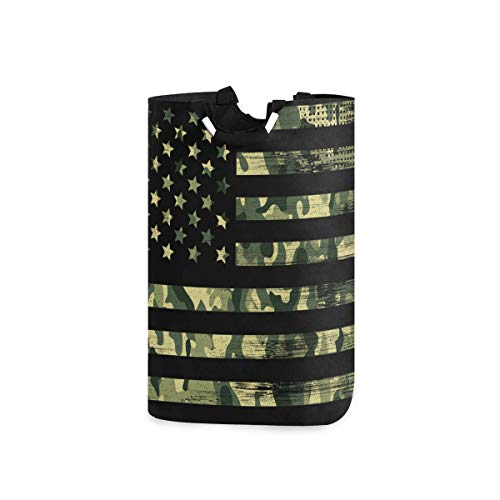 senya Large Laundry Basket, USA Flag Camouflage Vintage Laundry Hamper Foldable Clothes Bag with Handle Foldable Washing Bin