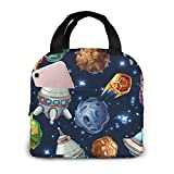 Lsjuee Space Rocket Stars Planetas Cosmic Picnic Bag Lunch Bag Gran capacidad Impermeable Unisex Shopping Bag School Travel Outdoor