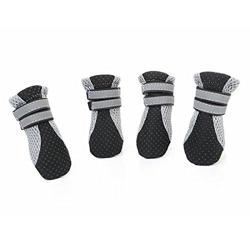 YABAISHI Haustier-Schuhe Luminous Breathable Ineinander greifen Hundeschuhe Walking-Schuhe Größe Dog Pet Supplies (Color : Black [spot 4 packs], Size : S)