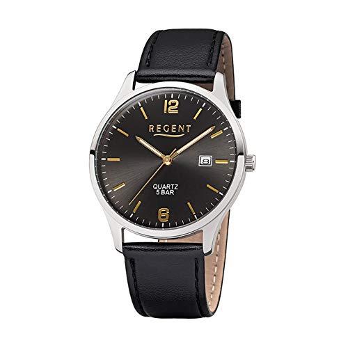 Regent Herren-Armbanduhr Elegant Analog Leder-Armband schwarz Quarz-Uhr Ziffernblatt anthrazit grau UR1113407