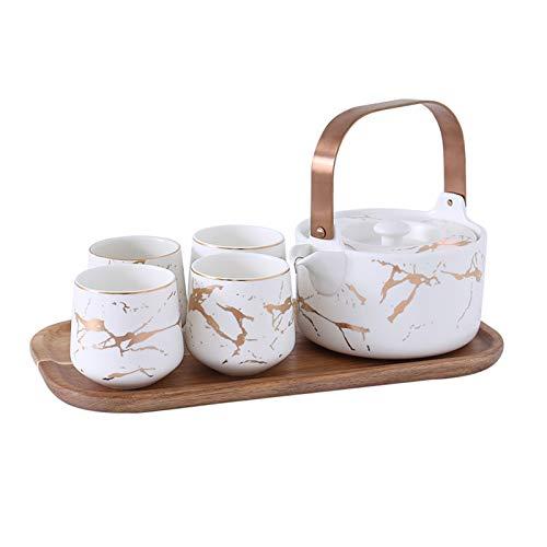 DLRBWAN Tetera Tetera doméstica y Conjunto de té de Taza de té de cerámica Mate Japonesa con Acacia Base de Madera (Color : E)
