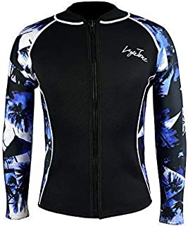 Layatone Wetsuits Top Women Men 3mm Neoprene Jacket Tops Diving Surfing Suit Rash Guard Long Sleeevs Front YKK Zipper Wet Suits Jacket Top Adults