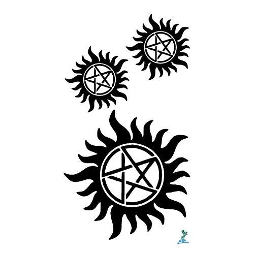 Yeeech Supernatural Merchandise Anti Possession Pentagram Sun Circle Star Designs Temporary Tattoos Sticker Black Small 4 Sheets (Kids)