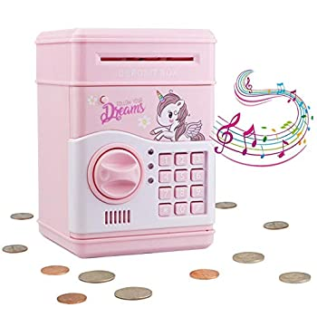 Electronic Piggy Bank for Girls Kids Safe Money Bank with Personal Password Setting Mini ATM Electronic Coin Bank Girls Piggy Bank Auto Saving Bank for Real Money Great Gift Toy for Kids