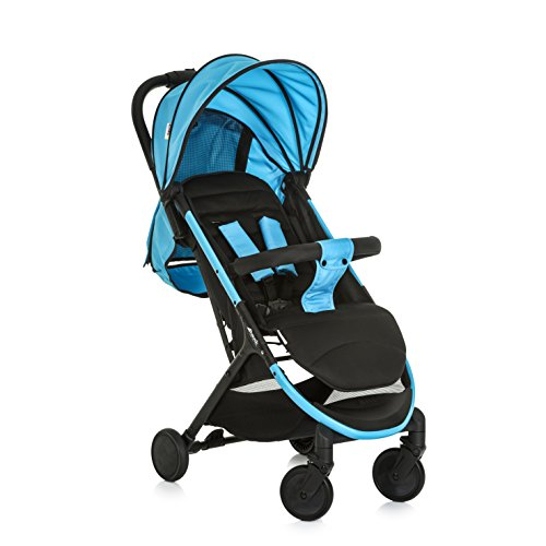 Hauck Swift Plus kompakter Buggy bis 18 kg mit Liegefunktion ab Geburt, extra klein klappbar, Einhand-Faltmechanismus, leicht, aus Aluminium, mit Tragegurt, neon blau schwarz