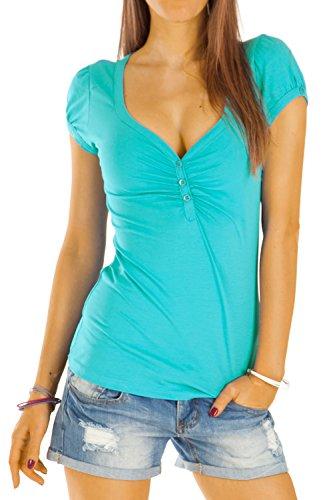 Bestyledberlin Damen T Shirt Oberteile Basic Top Shirt Stretch kurzarm mit Knöpfen t01p - S/36-38/M - Blaugrün