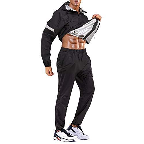 Bingrong Cortavientos Running Hombre Conjunto de Chándal Deportivo para Hombre Traje de Entrenamiento con Capucha Manga Larga Trajes de sudoración para Fitness con Cremallera