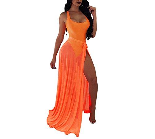 BANLAN Women Sexy Backless Bodysuit Lace up See Through, 1-orange, Size X-Large