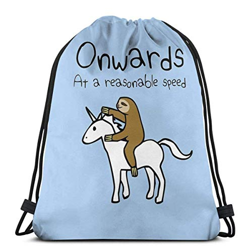 Fashion boutique clothing Onwards! At A Reasonable Speed (Sloth Riding Unicorn) Shoulder Drawstring Bag Backpack String Bags School Rucksack Gym Sport Bag Lightweight