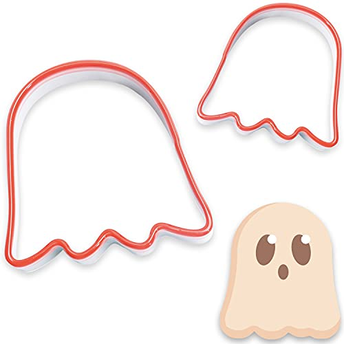 COOKIEQUE 2-Piece Halloween Ghost Cookie Cutter, Food-Grade Stainless Steel Sandwich Cutters, Biscuit Cutter set, Holiday Cookie Cutters, Unique Design with Protective Red Top PVC