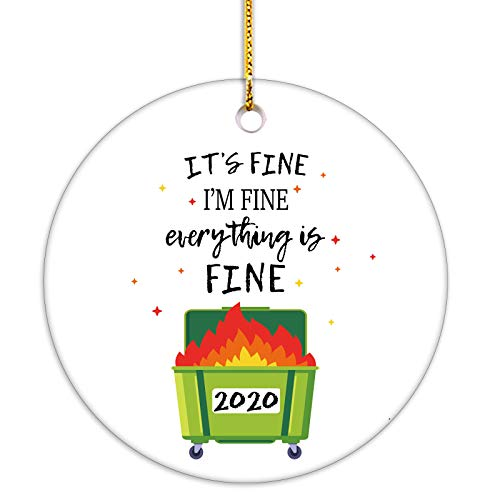 VILIGHT Funny Quarantine Christmas Ornament 2020 - It's Fine I'm Fine Everything is Fine Xmas Decoration with Tag - 2.75 Inch