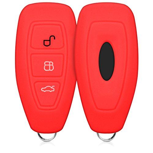 kwmobile Accessoire clé de Voiture Compatible avec Ford Keyless Go 3-Bouton - Coque en Silicone Souple pour Clef de Voiture Rouge