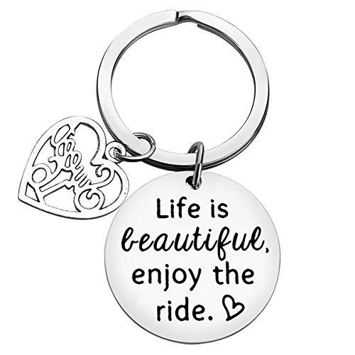 Schlüsselanhänger zum 16. Geburtstag, Kering Life is Beautiful Enjoy The Ride Sweet 16, inspirierendes Geschenk, Führerschein Geschenk für Fahranfänger zum Geburtstag, für Tochter, Nichte, Schwester