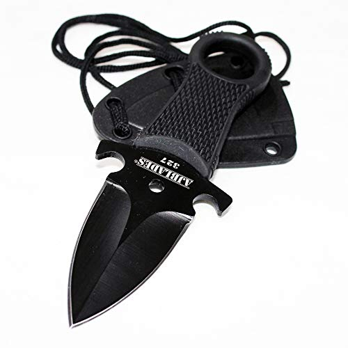AJBLADES Tactical Black Full Tang Neck Knife Fixed Blade Military Dagger Sheath-AJ327