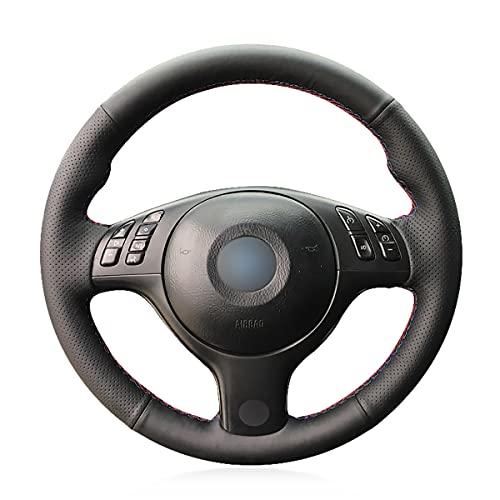 Personalizzato auto copertura del volante in simil pelle nera per E39E46330i 540I 525I 530I 330ci m32001–2003