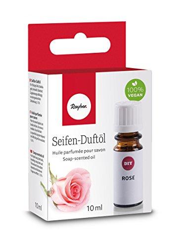 Rayher 34252000 Hobby Seifen Duftöl (100% vegan, in Glasflasche mit Kindersicherheitsverschluss, hautpflegende und wohltuende Wirkung) Rose, 10 ml