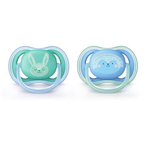 Philips AVENT SCF344/22 - Chupete (Ultra soft pacifier, Ortodóntico, Silicona, Azul, Verde, 6 mes(es), 18 mes(es))