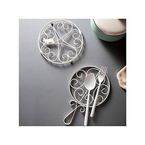 Decorative Cast Iron Trivet For Kitchen Or Dining Table -2 pack- Cast Iron Metal Trivets(white)-6.2' Diameter-RESAIX