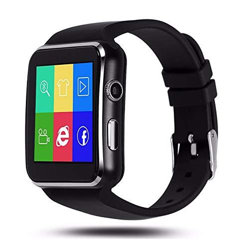 Aubess X6 Sport-Smartwatch, mit Schrittzähler, SIM-Karte, mit Kamera, unterstützt Whatsapp, Facebook, Smartwatch für Android-Handys, Schwarz