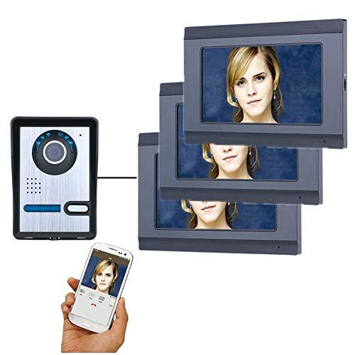 Timbre de video Wifi, sistema de seguridad de intercomunicador de videoportero de 7 pulgadas, monitor de desbloqueo de APP de teléfono móvil, 3 pantallas + 1 cámara de visión nocturna con cable