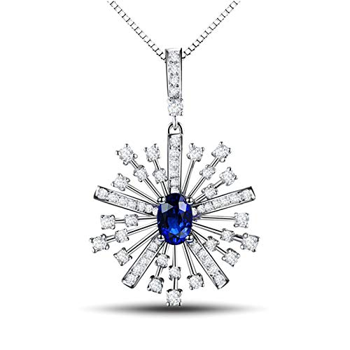 Beydodo Blue Sapphire Stone Necklace for Women, White Gold Necklaces for Women 18k Snowflake with Diamond and Sapphire 0.53ct - Wedding Party Jewellery