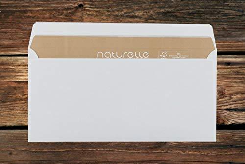 Umweltfreundliche Naturelle Briefumschläge/hellchamois-creme / 110x220 mm (DL) / brauner Innendruck/mit Abziehstreifen/haftklebend / 500 Stück