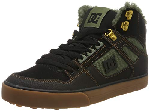 DC Shoes Herren Pure High-top Wc - Winter Shoes for Men Skateboardschuhe, Black/Olive, 41 EU