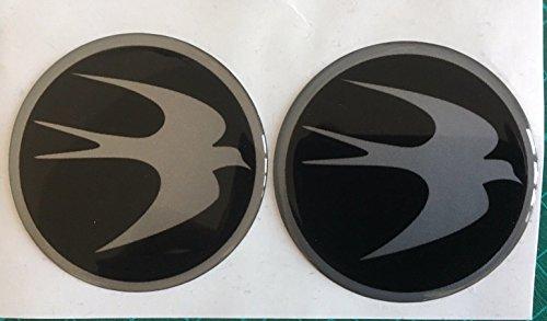 SCOOBY DESIGNS Swift Lot de 2 cache-moyeux circulaires avec logo oiseau 60 mm Noir et argent
