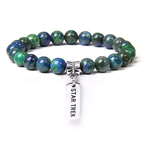 HUIZHANG Fénix Natural lapislázuli Azul Verde Piedra Preciosa Pulsera para Hombres Mujeres Color Plata Pulseras con dijes de MetalRegalos de Amor Familiar
