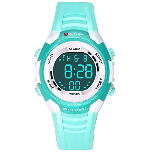 Relojes de Pulsera Electrónicos para Niños Niños Digital Relojes Deportes–5 ATM Reloj Deportivo Impermeable al Aire Libre con Alarma Cronómetro Luces de Colores de Fondo (Verde)
