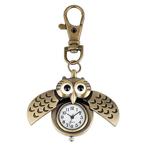 LEYUANA Bronce Cute Owl Keychains Reloj de Bolsillo, llaveros Dorados Funda con Tapa Reloj de Hora Animales Relojes de Bolsillo para Hombres Mujeres Kid Bronze