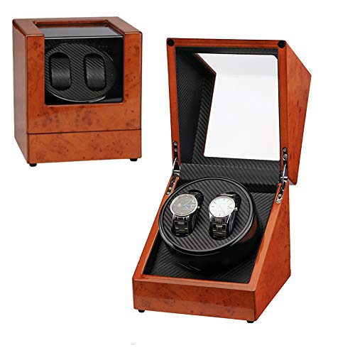 Automatic Double Watch Winder Display Case, Dual Watches Rotation Storage Case Display Box, with Quiet Motor, For 2 Wrist Automatic Mechanical Watches, For Men and Lady Watches