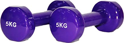 Skyland Classical Head Vinyl Dumbbell Set, 5Kg X 2 - Purple, Em-9219-5