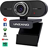 Webcam with Microphone, Unzano 1080P HD Webcam with Auto Light Correction/Plug and Play/Wide Angle, Streaming Camera for Calling Recording, Conference, Gaming, Online Classes