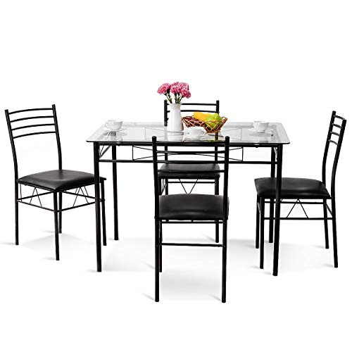 Tangkula Dining Table Set 5 Piece Home Kitchen Dining Room Tempered Glass Top Table and Chairs Breaksfast Furniture (Black 002)
