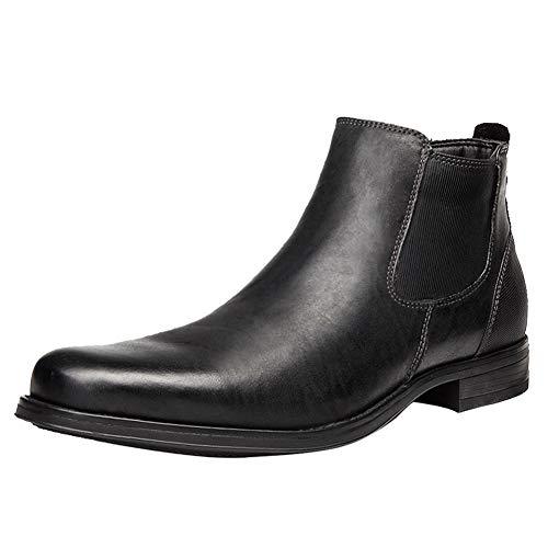 ANUFER Hombres Genial Retro Piel Genuina Botines Chelsea Zapatos de Vestir Negro SN01905 EU43