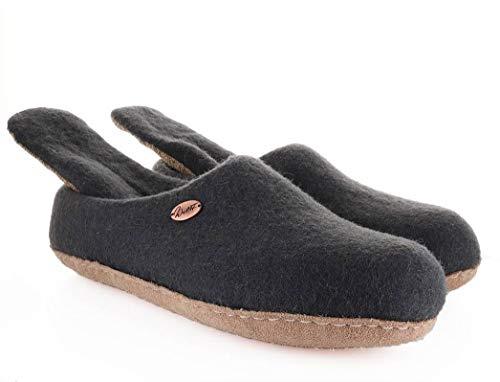 Handgefilzte Pantoffeln mit Wechselfußbett aus anatomisch geformtem Wollfilz, Graphit, Gr. 44