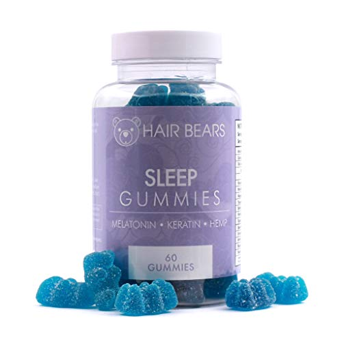 Hair Bear Sleep Gummies | Hemp, Melatonin, Keratin, and Special Blend formulated for Deep Sleep - Great Tasting Blue Raspberry Flavored Vitamins