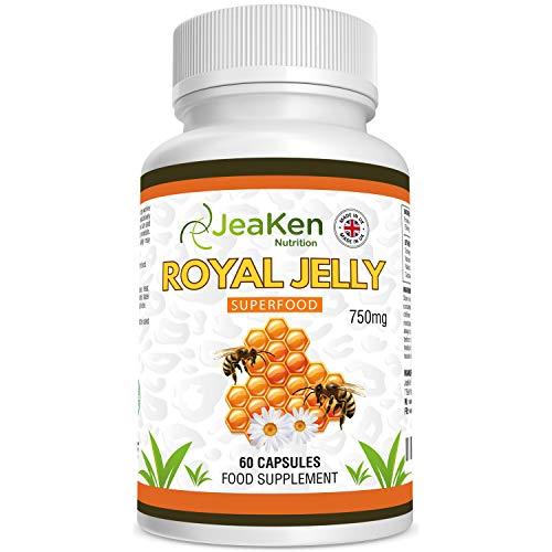 JeaKen - ROYAL JELLY CAPSULES - Högpotential Royal Jelly kapslar för fertilitet - Stöd kvinnors klimakterium Friska hårnaglar och hud - Mutivitaminer för hösnuva - 60 vegetariska kapslar