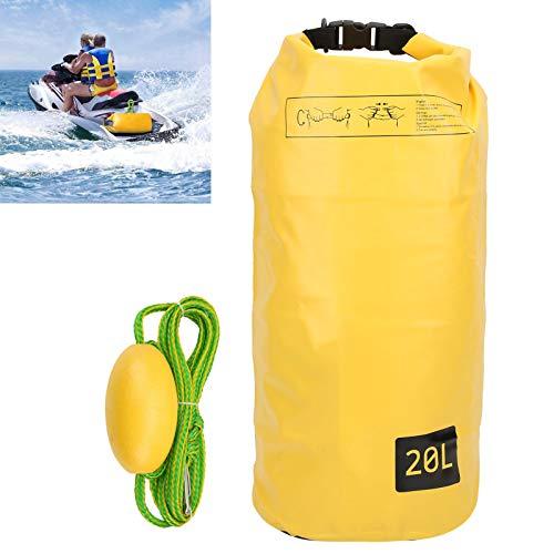 Gaeirt Sistema de Anclaje de Arena, Ancla de Arena Amarilla Impermeable con Cuerda Flotante Trenzada Larga para flotadores Tablas de Remo para Motos de Agua PWC, Kayak(20L)