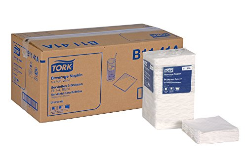 "Tork Universal B1141A Beverage Napkin, 1-Ply, 1/4 Fold, 9.38"" Width x 9.38"" Length, White (Case of 8 Packs, 500 per Pack, 4,000 Napkins)"