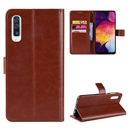 Snow Color Galaxy A50 / A50S / A30S Hülle, Premium Leder Tasche Flip Wallet Case [Standfunktion] [Kartenfächern] PU-Leder Schutzhülle Brieftasche Handyhülle für Samsung Galaxy A50 - COBYU030159 Braun