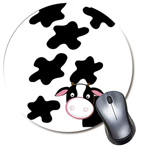 Yaxazepluy - Dairy Cow Black White Mouse Pad, Gaming Round Mousepad for Computer Laptop Non-Slip Rubber Desk Mat,Cute Office Gift(8 Inch)