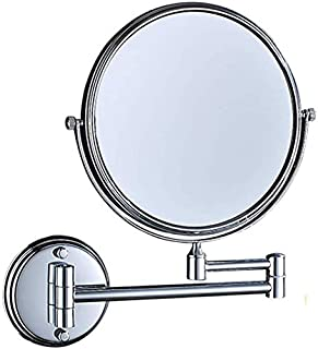 Makeup Vanity Mirror, 3X Magnification Beauty Mirror Two-Sided Wall Mounted Cosmetic Mirror 360° Swivel Extendable Bathroom Mirror,Silver_8inch, Bathroom