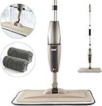 Spray Mop for Floor Cleaning, Floor Mop with a Refillable Spray Bottle and 2 Washable Pads, Flat Mop for Home Kitchen Hardwood Laminate Wood Ceramic Tiles Floor Cleaning (Khaki, 350ML)