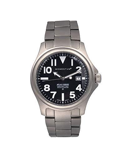 Momentum Herren-Quarzuhr Atlas Quarzuhr Saphir und Titan-Uhren für Herren, Sportuhr mit japanischem Uhrwerk & Analoganzeige, wasserfeste Herren-Armbanduhr mit Datumsanzeige, Schwarz / Titan