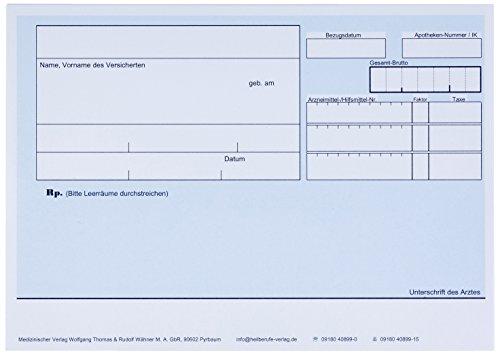 Wolfgang Thomas & Rudolf Wähner M.A. Privatrezept A6, 90 g/m², blau quer, Chipkartengerecht mit PZN-Feld; 240 Blatt