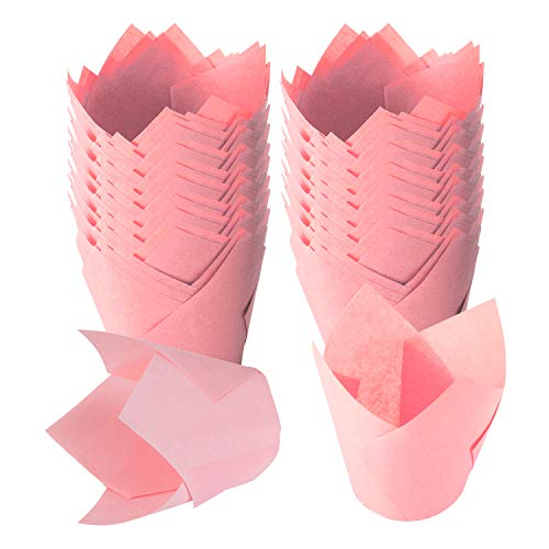 TRUSBER Baking Cups, 150 pieces Tulip Cupcake Liners Baking Cup Holders and Muffin Liners Wrappers for Wedding, Birthday, Christmas, and Baby Shower Parties(Light Pink)
