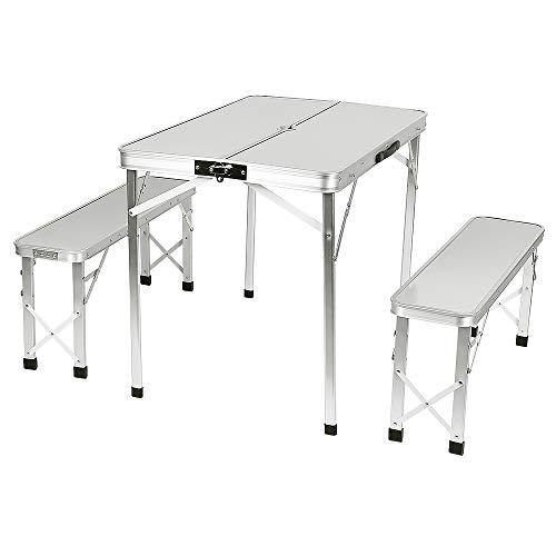Turefans tavolino Pieghevole, Tavolo da Campeggio, Lega di Alluminio, Pieghevole, 60 * 90 * 70 cm, con 2 panche